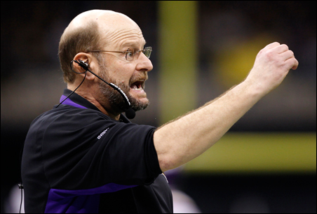 Vikings head coach Brad Childress shouts out from the sidelines during the fourth quarter of the NFC Championship game.