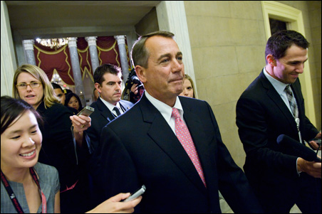 """Speaker John Boehner: """"Beginning to take steps toward fixing our fiscal problems will in fact provide more confidence for employers in America."""""""