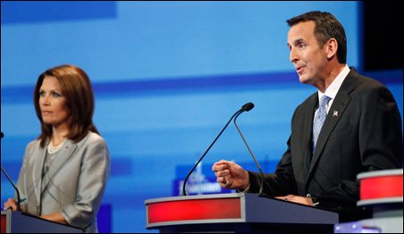 Heated exchanges between Michele Bachmann and Tim Pawlenty dominated the debate's first hour.