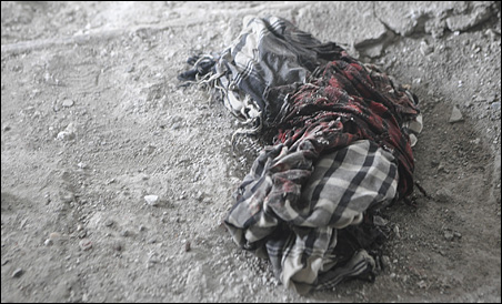A bloodied scarf belonging to one of the insurgents killed during the attack on the U.S. Embassy in Kabul.