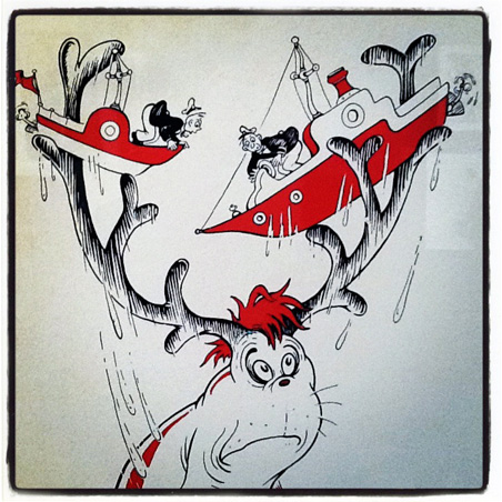 Detail of an advertising cartoon by Dr. Seuss, on display at the Jean Stephen Gallery.