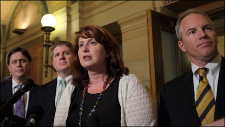 The GOP legislative leadership -- from left, Dean, Zellers, Koch and Michel -- speaking to the press Thursday night.