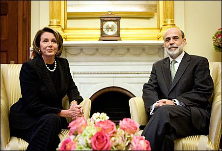 House Speaker Nancy Pelosi and Federal Reserve Chairman Ben Bernanke
