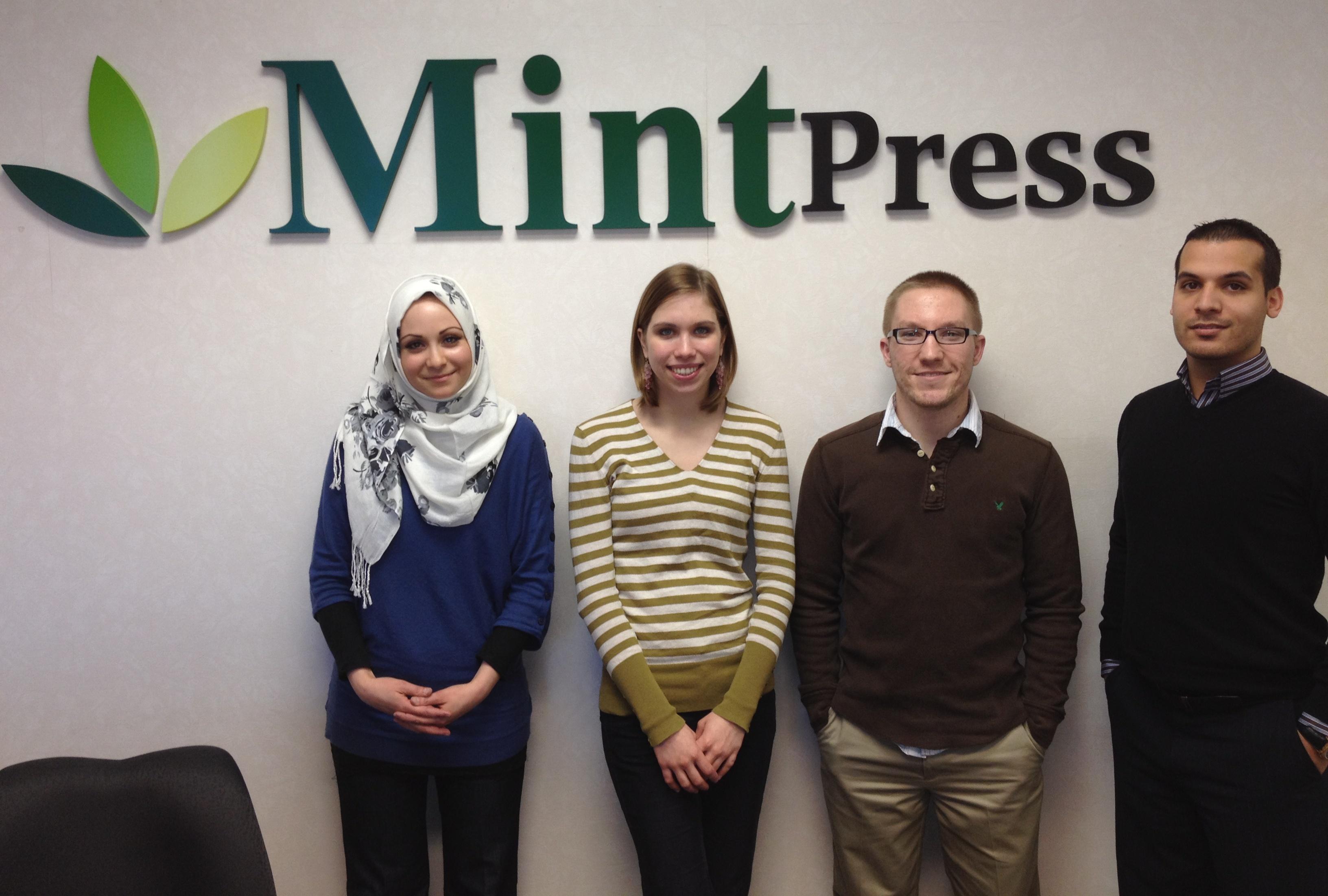 Some of the MintPress crew: Mnar Muhawesh, Janessa Schilmoeller, Joey LeMay and Muhammad Muhawesh