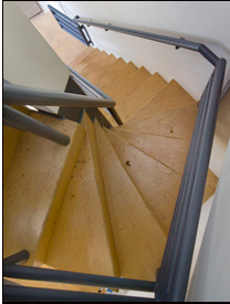 The home's stairs carry the Gehry angle.