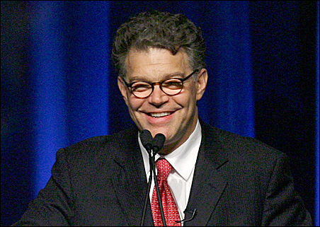 DFL-endorsed Senate candidate Al Franken is shown at the party's state convention in June.