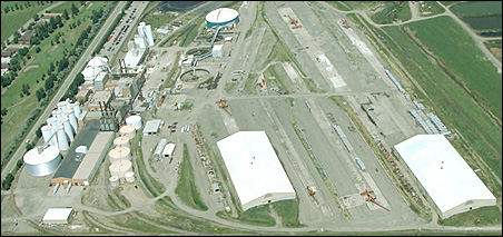An aerial photo of the American Crystal Sugar plant in Moorhead, Minn.