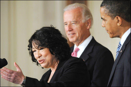 Judge Sonia Sotomayor, with Vice President Joe Biden and President Barack Obama, at the White House this morning.