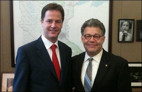 Deputy Prime Minister Nick Clegg is shown meeting with Sen. Al Franken on Thursday morning.