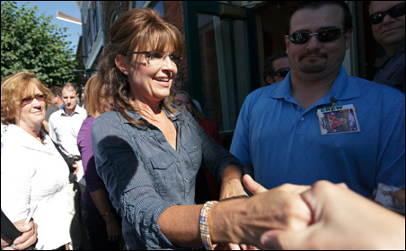 "Sarah Palin in Pella earlier this year at the premier of the ""Undefeated"" documentary."