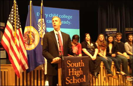 Education Secretary Arne Duncan addresses students and staff at South High.