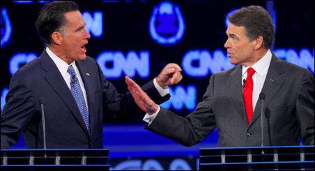 Mitt Romney and Gov. Rick Perry squabbling