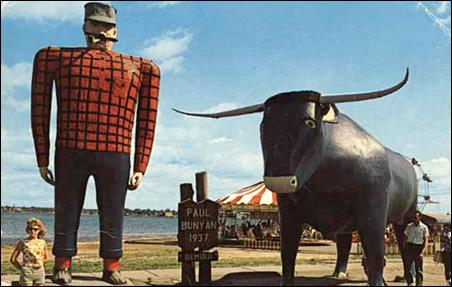 Paul Bunyan and Babe his blue ox, Bemidji, 1960
