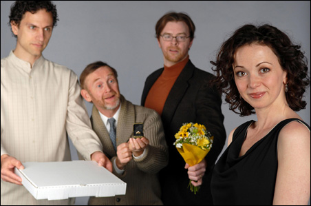 Ron Menzel, left, plays the Kurdish pizza maker who attracts the poetry professor, played by Stacia Rice. Between the lovebirds: Pat O'Brien and Sean Dooley.
