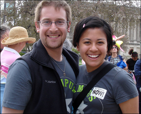 Mitra Jalali, right, with her Campus Progress successor, Harry Waisbren.
