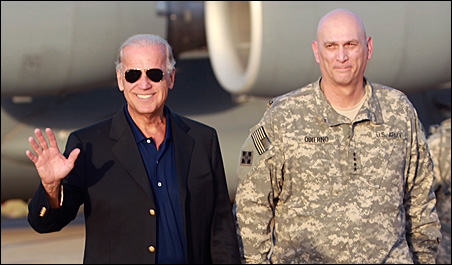 Vice President Joe Biden is received by U.S. military commander in Iraq, Gen. Raymond Odierno, as he arrives in Baghdad on Monday.