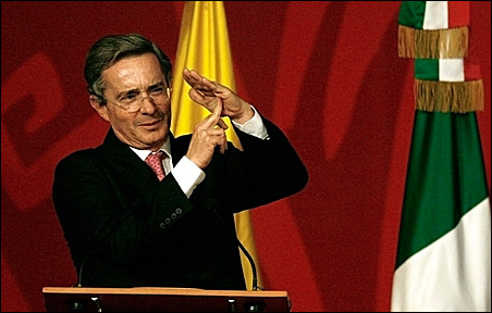 Colombian President Alvaro Uribe gestures during the opening ceremony of the International Book Festival in Bogota August 12, 2009.