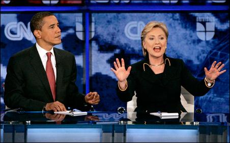 Sens. Barack Obama and Hillary Rodham Clinton debate at the University of Texas in Austin