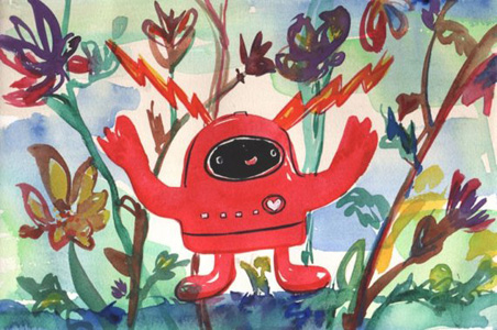 """""""Red Robot in Garden"""" by Kelly Newcomer"""