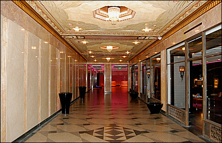 The restored building includes an Art Deco ceiling.