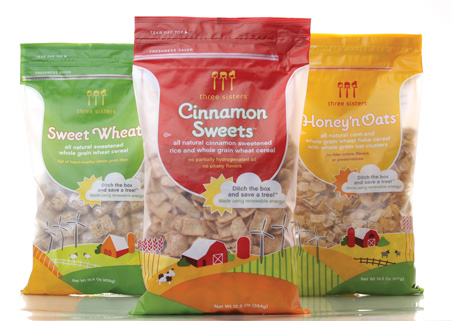"""HartungKemp """"ditched the box"""" for the packaging of Three Sisters, a new natural cereal sold at Whole Foods Markets."""