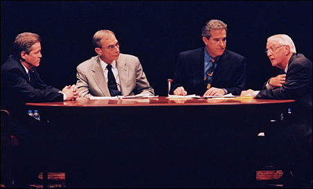 A 2002 U.S. Senate debate featuring Norm Coleman and Walter Mondale, moderated by Gary Eichten and KARE 11's Paul Magers.