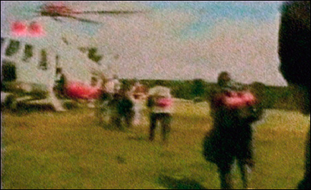 Hostages board a helicopter during the July 2 rescue operation in Colombia.