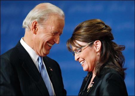 All smiles after the debate: Sen. Joe Biden and Alaska Gov. Sarah Palin.