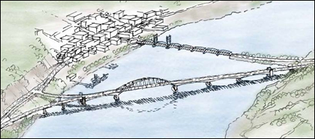 """""""Alternative E"""" for the Stillwater bridge is larger in scale and has greater environmental impact than the 3-architects proposal."""