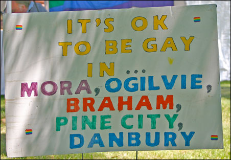 A sign at the Pride in the Park picnic