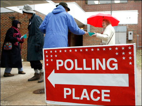 Voters visit a polling station in Virginia on Tuesday
