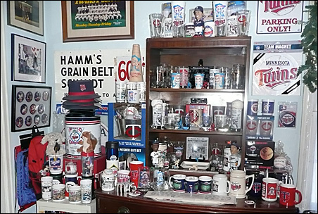 A spare bedroom at Michael Samuelson's house is a shrine to all things related to the Minnesota Twins.