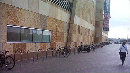 The bike racks outside of Target Field where more than 300 fans are parking for most Twins games.