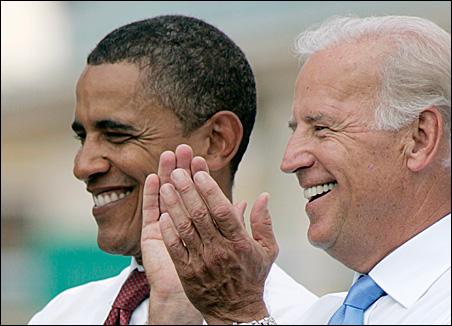 Obama and Biden are all smiles Saturday in Springfield, Ill.