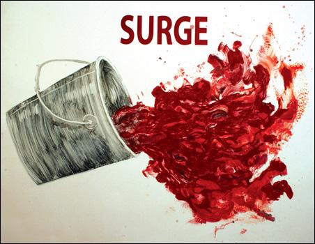 Ruthann Godollei, Surge, 2006. Monoprint, screenprint, 41 x 30 inches.