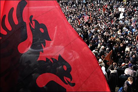 Ethnic Albanian students demonstrating