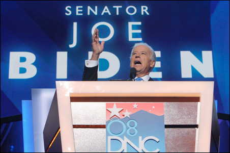Joe Biden speaking during the 2008 Democratic convention