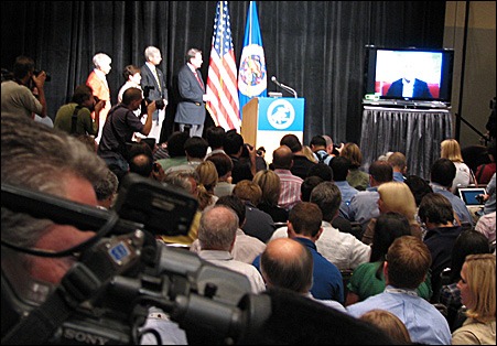 About 400 reporters and Republican officials gathered Sunday afternoon to hear Sen. John McCain announce plans for an abbreviated opening day for the GOP convention.