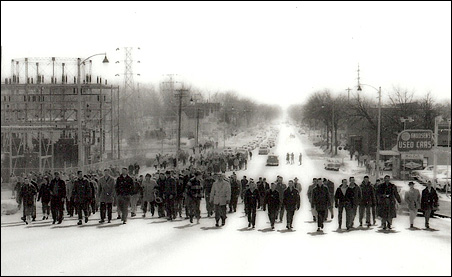 Strike supporters march down South Broadway in Albert Lea during a rally on Feb. 13, 1960.