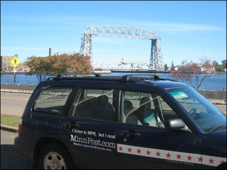 The MinnPostmobile poses in front of the lift bridge in Duluth