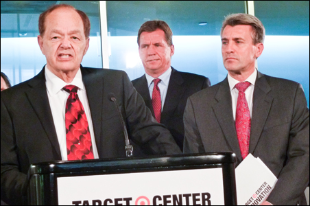 From left, Timberwolves owner Glen Taylor, Downtown Council board chairman Tim O'Connor and Mayor R.T. Rybak tout Target Center renovation plans.