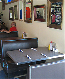 The booth at the Bluebird Diner where Michele Bachmann had breakfast in early July.