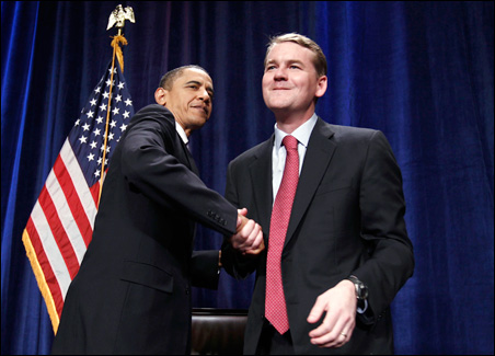 The Democratic race represents a proxy battle between President Obama, left, who is backing Sen. Michael Bennet, right, and former President Clinton, who backs former state House Speaker Andrew Romanoff.