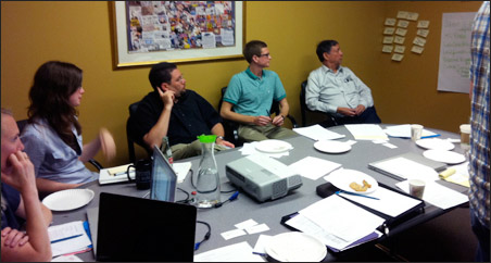 The MinnPost team brainstorms goals and vision for the redesign.