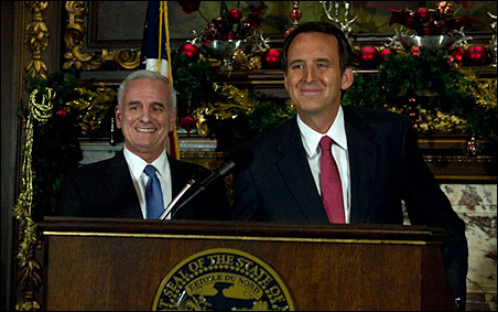 Gov.-elect Mark Dayton and Gov. Tim Pawlenty were all smiles today.