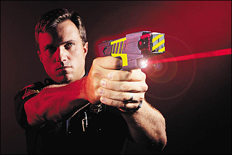 An undated company file photo of an Air Taser stun guns, which has a range of 15 feet and delivers a paralyzing electric shock to its targets.