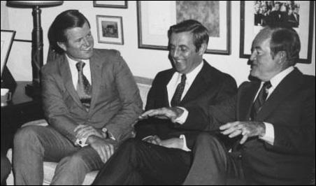 Sens. Edward Kennedy, Walter Mondale and Hubert Humphrey at a Minnesota DFL fundraiser in 1971.