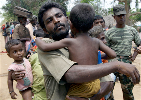 More than 100,000 civilians have fled the area held by the Liberation Tigers of Tamil Eelam.