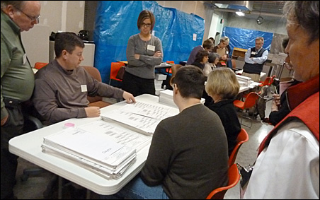 Elections judges sorting ballots in Shakopee.