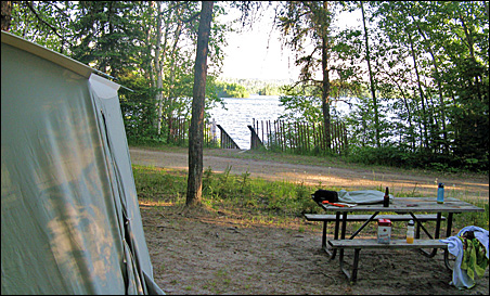 The campsite at White Lake Provincial Park -- before the thunderstorm.